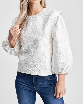 Express En Saison Jacquard Long Sleeve Blouse