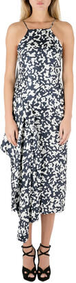 Josh Goot Navy Blue and White Printed Silk Side Bustle Dress XS