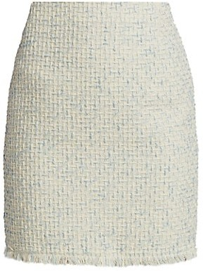 Akris Punto Fringe-Trimmed Cotton Tweed Skirt