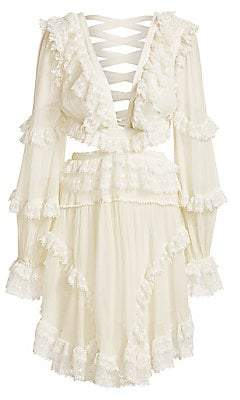 Zimmermann Women's Suraya Lace Trim Cutout Mini Dress