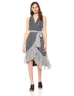 Gabby Skye Women's Sleeveless V-Neck Stripe Wrap Dress