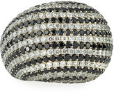 Diana M. Jewels 18k White & Black Diamond Dome Ring, 7.21tcw, Size 6