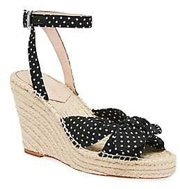 Loeffler Randall Women's Tessa Bow Polka Dot Cotton Espadrille Wedge Sandals