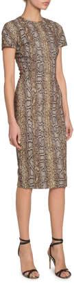 Victoria Beckham Python Print Fitted T-Shirt Dress