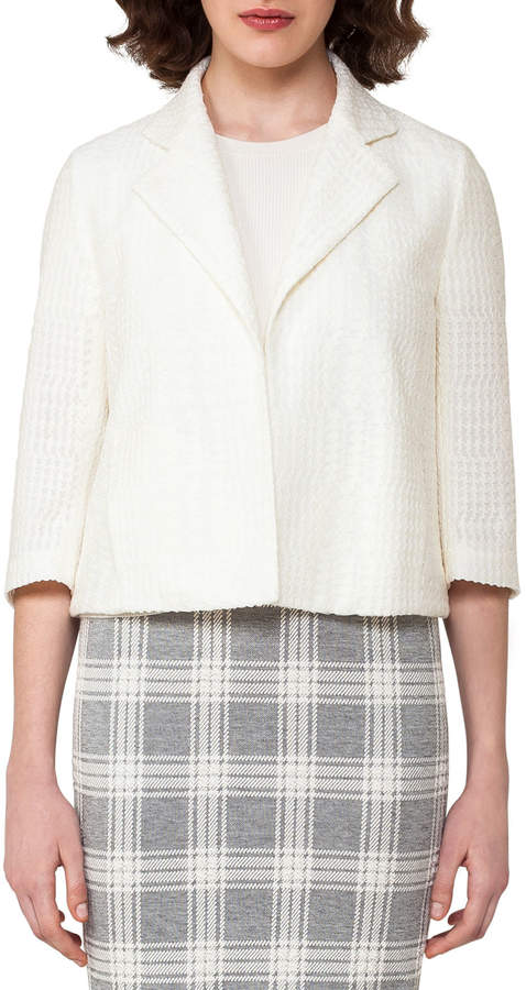 Akris Check-Embroidered 3/4-Sleeve Cropped Jacket, Off White