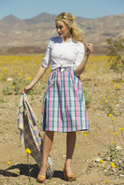 Shabby Apple Abigail Cotton Plaid Midi Skirt Pink