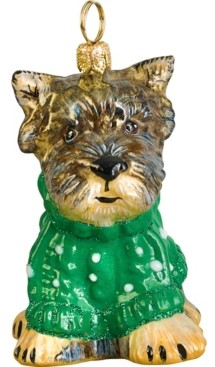 Joy to the World Yorkie Puppy in Green Cable Knit Sweater
