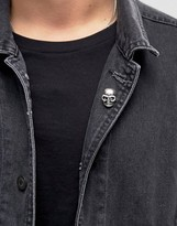 Asos Skull Pin Badge In Burnished Silver