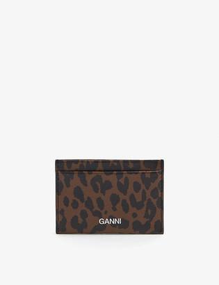 Ganni Leopard-print leather card holder