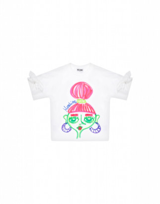 Moschino T-shirt With Faces Print Woman White Size 4a It - (4y Us)