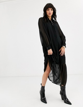 Object smock maxi dress with prairie collar-Black