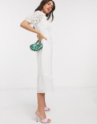 Fashion Union midi shirt dress with boderie sleeves
