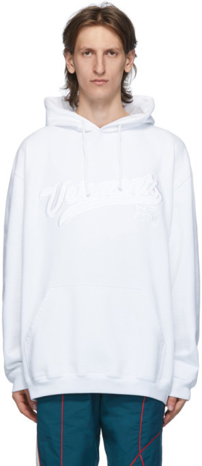 Vetements White Hip Hop Script Hoodie