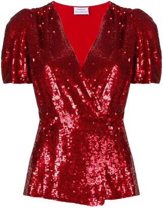 P.A.R.O.S.H. V-neck sequin embellished top