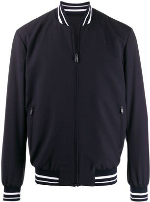 Ermenegildo Zegna Striped-Collar Bomber Jacket