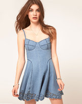 Asos Cutwork Strappy Denim Dress