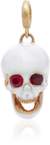 Luis Morais White Medium Enamel Skull Charm with Moveable Jaw and Gemfields Ruby Eyes