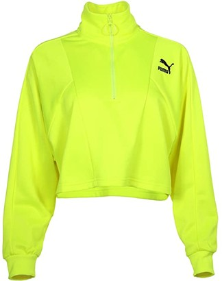 Puma Tailored For Sport Cropped 1/2 Zip (Fluo Pink) Women's Clothing