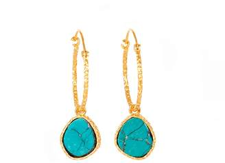 Christina Greene Mini Hoop Earrings in Turquoise