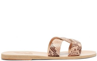 Ancient Greek Sandals Desmos Python-effect Leather Slides - Womens - Pink Multi