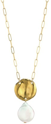 Chan Luu 13-14MM White Flat Coin Freshwater Pearl Pendant Necklace