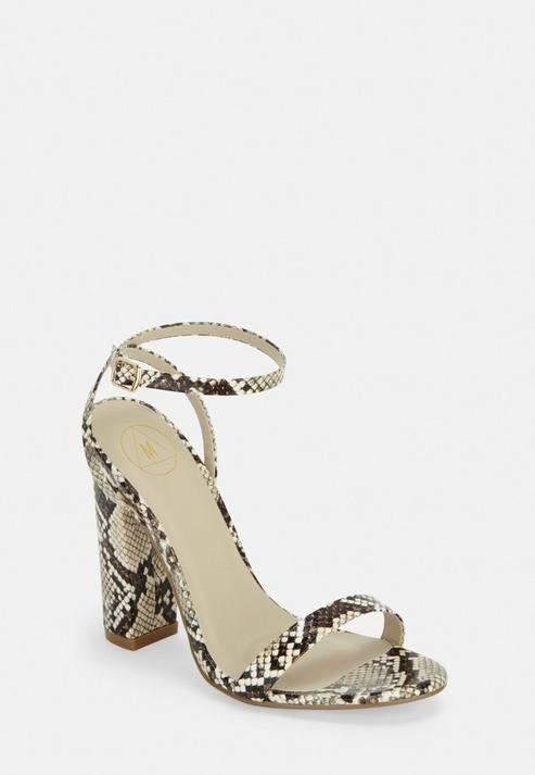 b06712964b2 Beige Snake Print Block Heeled Sandals
