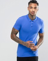 Asos Extreme Muscle Jersey Polo Shirt In Blue