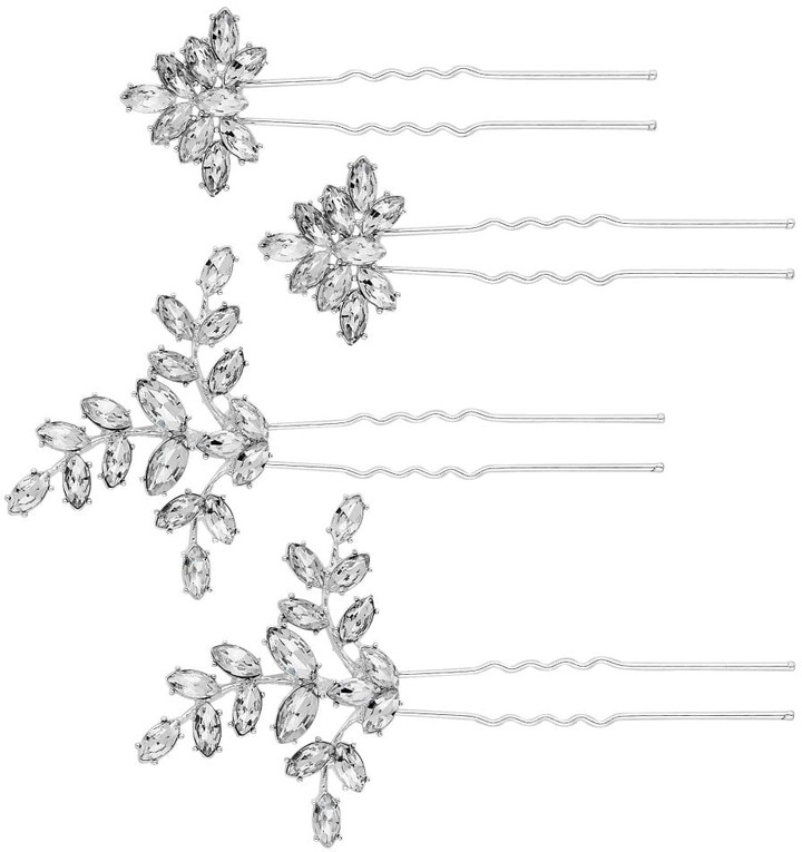 Jon Richard Jewellery MOOD - By Jon Richard SILVER PLATED CRYSTAL FLORAL 4 PACK HAIR PINS