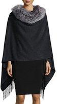 Sofia Cashmere Fur-Trim Cashmere Cape, Charcoal