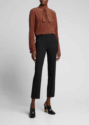 Michael Kors Collection Geometric Print Silk Tie-Neck Blouse