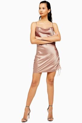 Topshop Womens Pink Ruched Mini Satin Slip Dress - Pink