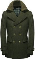 Chouyatou Men's British Double-Breasted Thicken Quilted Lining Wool Blend Peacoat