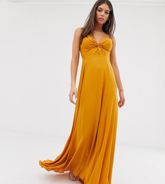 Asos Tall DESIGN Tall cami maxi dress with knot front bodice-Gold