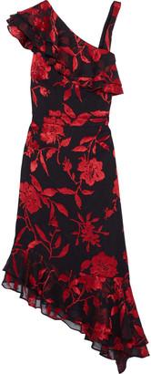 Rachel Zoe Antonia Asymmetric Fil Coupe Crinkled Chiffon Dress