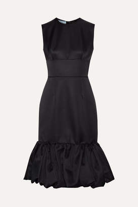 Prada Fluted Wool And Silk-blend Satin Dress - Black