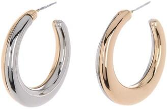 Halogen Reversible Two-Tone Hoop Earrings