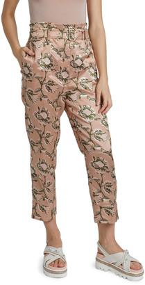 Simone Rocha Paperbag-Waist Floral-Print Trousers