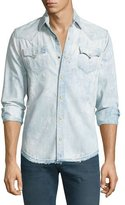 True Religion Ryan Bleached & Faded Western-Style Shirt, Pacific Water