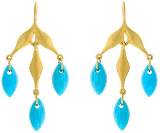 Cathy Waterman Turquoise Flexible Wheat Yellow Gold Earrings
