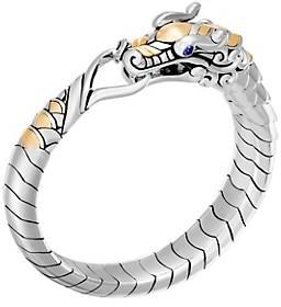 John Hardy Legends Naga 18K Gold & Silver Blue Sapphire Studded Bracelet