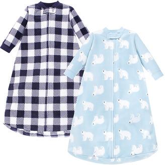 Hudson Baby Boys' Infant Sleeping Sacks Polar - White & Blue Plaid Polar Bear Long-Sleeve Fleece Gown Set - Newborn