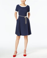Max Mara Fit & Flare Belted Dress