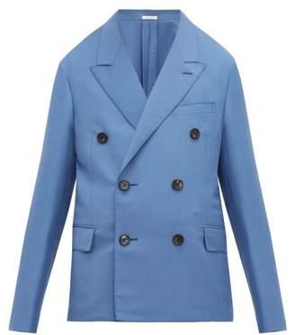 Lanvin Double Breasted Mohair Blend Crepe Blazer - Mens - Light Blue