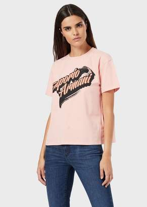 Emporio Armani Jersey T-Shirt With Cartoon Logo