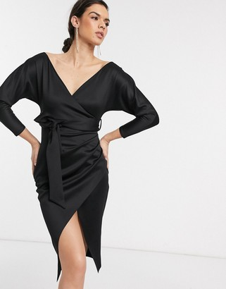 ASOS DESIGN bardot wrap batwing sleeve midi dress with self tie belt in black