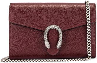 Gucci Leather Chain Shoulder Bag in Vintage Bordeaux & Black Diamond | FWRD