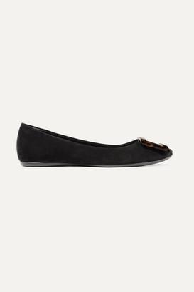 Roger Vivier Gommette Embellished Suede Ballet Flats - Black