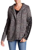 Michael Stars Leather Accent Wool Blend Cardigan