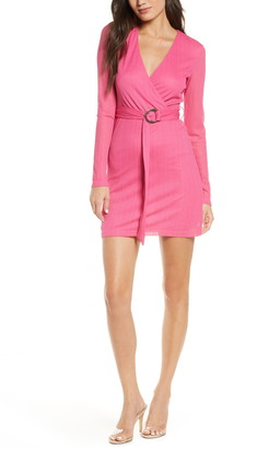 NSR Ana Wrap Front Long Sleeve Minidress