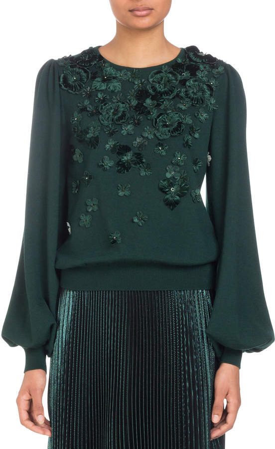 Andrew Gn Blouson-Sleeve Knit Sweater with Tonal Floral Embroidery